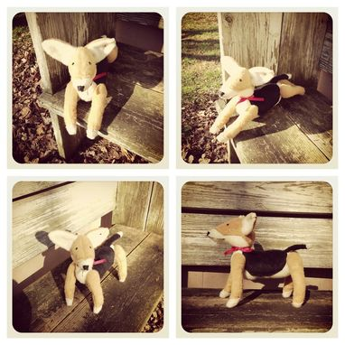 Custom Made Jointed Dog/Corgi/Fur Made From Recycled Bottles/Vintage Style/Hand Stitched Details