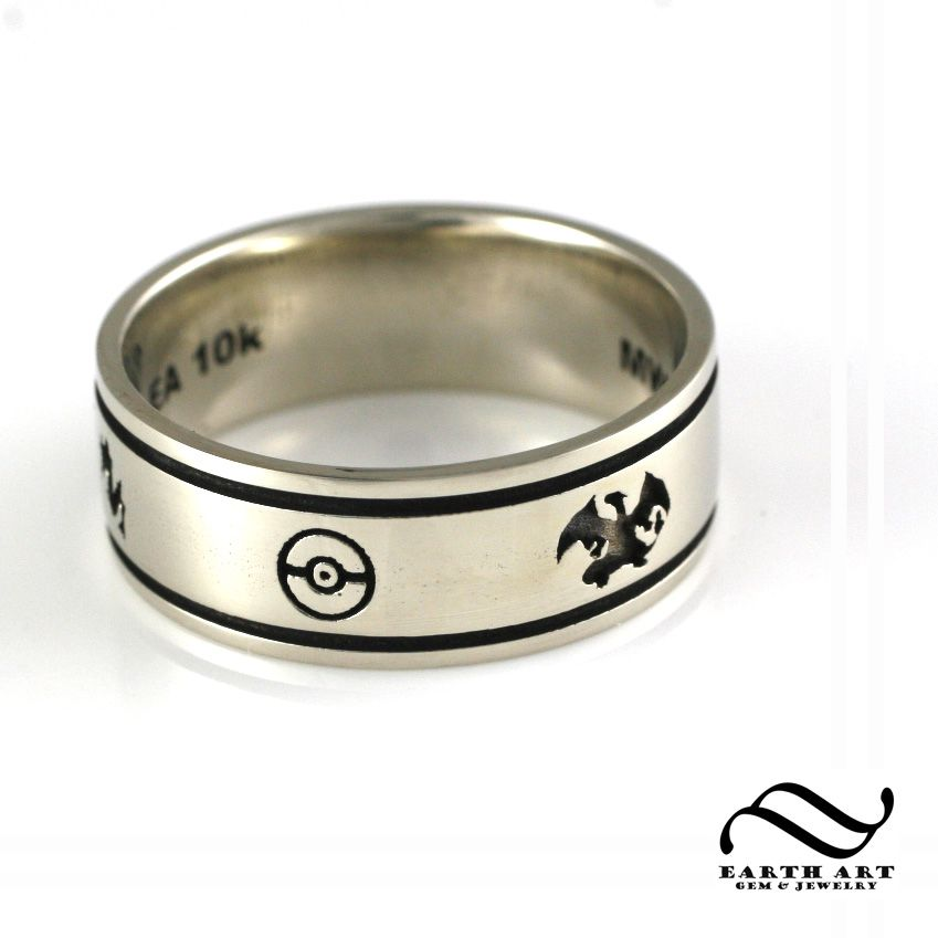 handmade custom pokemon wedding band by earth art gem jewelry. Black Bedroom Furniture Sets. Home Design Ideas