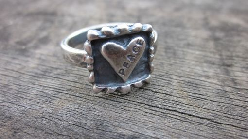 Custom Made Silver Ring With Love And Peace Hand Stamp