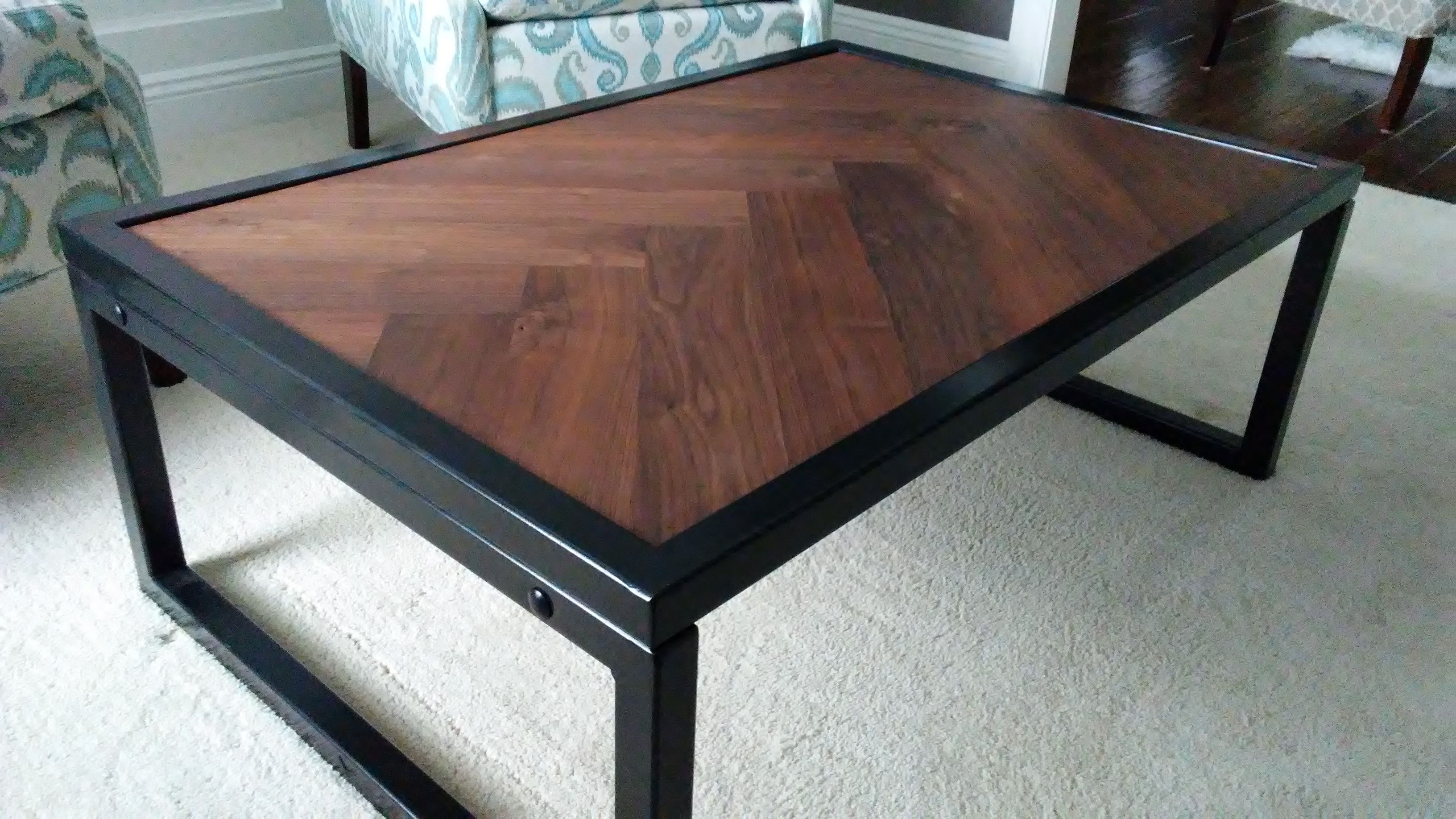 Hand Crafted Walnut Herringbone Coffee Table by Villella Custom