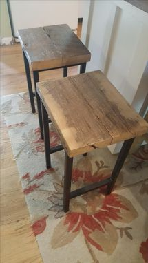 Custom Made Industrial Steel & Reclaimed Wood Stool