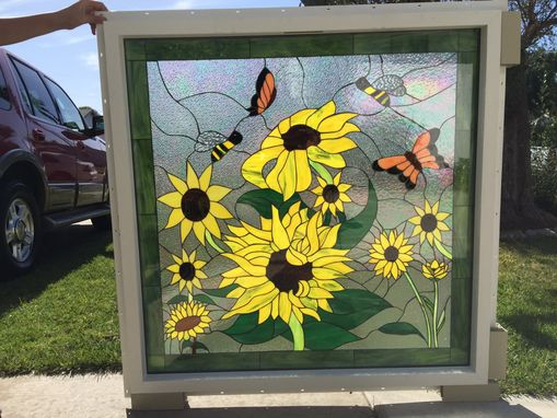 Custom Made Sunflower Stained Glass Window In Vinyl Frame Insulated And Impact Resistant
