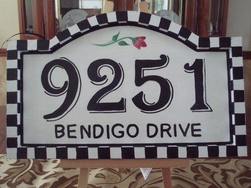 Custom Made Hand Painted House Number Sign