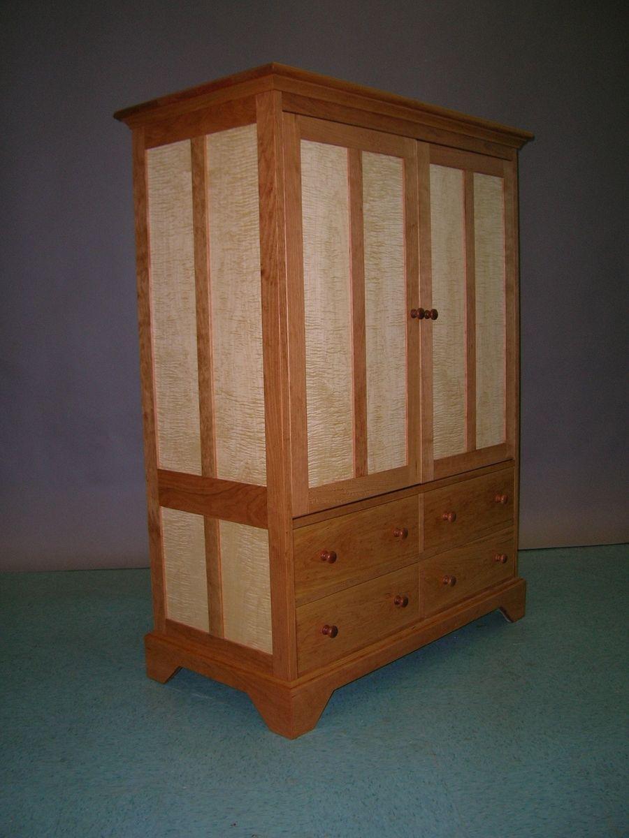 Maple Storage Cabinet Handmade Cherry And Tiger Maple Tv Cabinet By Matthew Sharratt