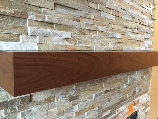 Custom Made Walnut Modern Fireplace Mantel. Walnut Mantle.