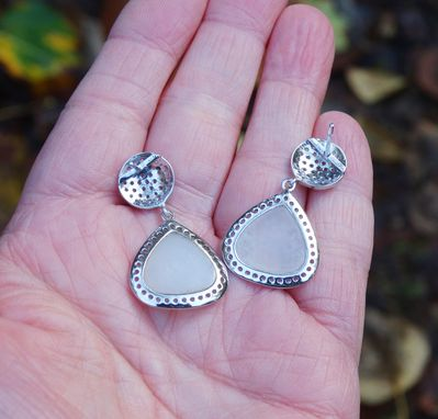 Custom Made White Topaz And White Druzy Teardrop Earrings In Sterling Silver