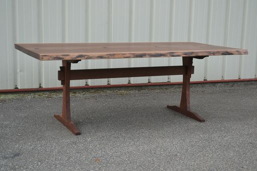 Custom Made Live Edge Walnut Dining Table With New, Slender Trestle Base