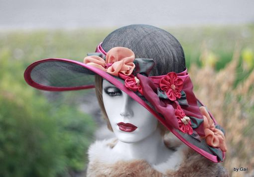 Custom Made Wide Brim Formal Hat For Summer Kentucky Derby Races