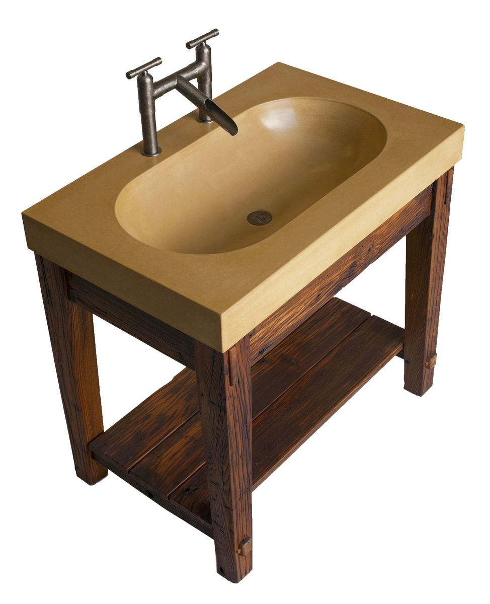 Custom Made Bathroom Vanity With Wormy Chestnut Base And Integral Concrete Sink