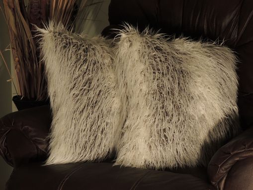 Custom Made Curly Llama Ivory Grey Faux Fur 18 X 18 In. Decorative Pillow - Set Of 2