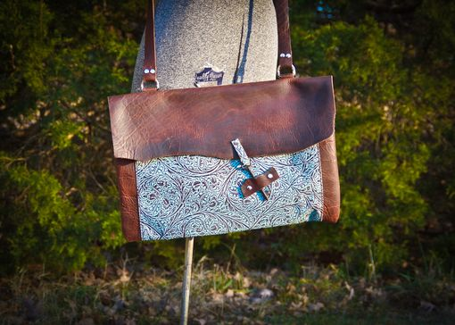 Custom Made Bison And Turquoise Leather Messenger/Computer Bag With Vintage Key Closure