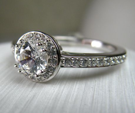 Custom Made Diamond Halo Engagement Ring