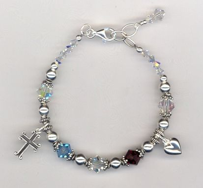 Custom Made Custom Swarovski Crystal Pearl Sterling Beaded Mother's Charm Bracelet