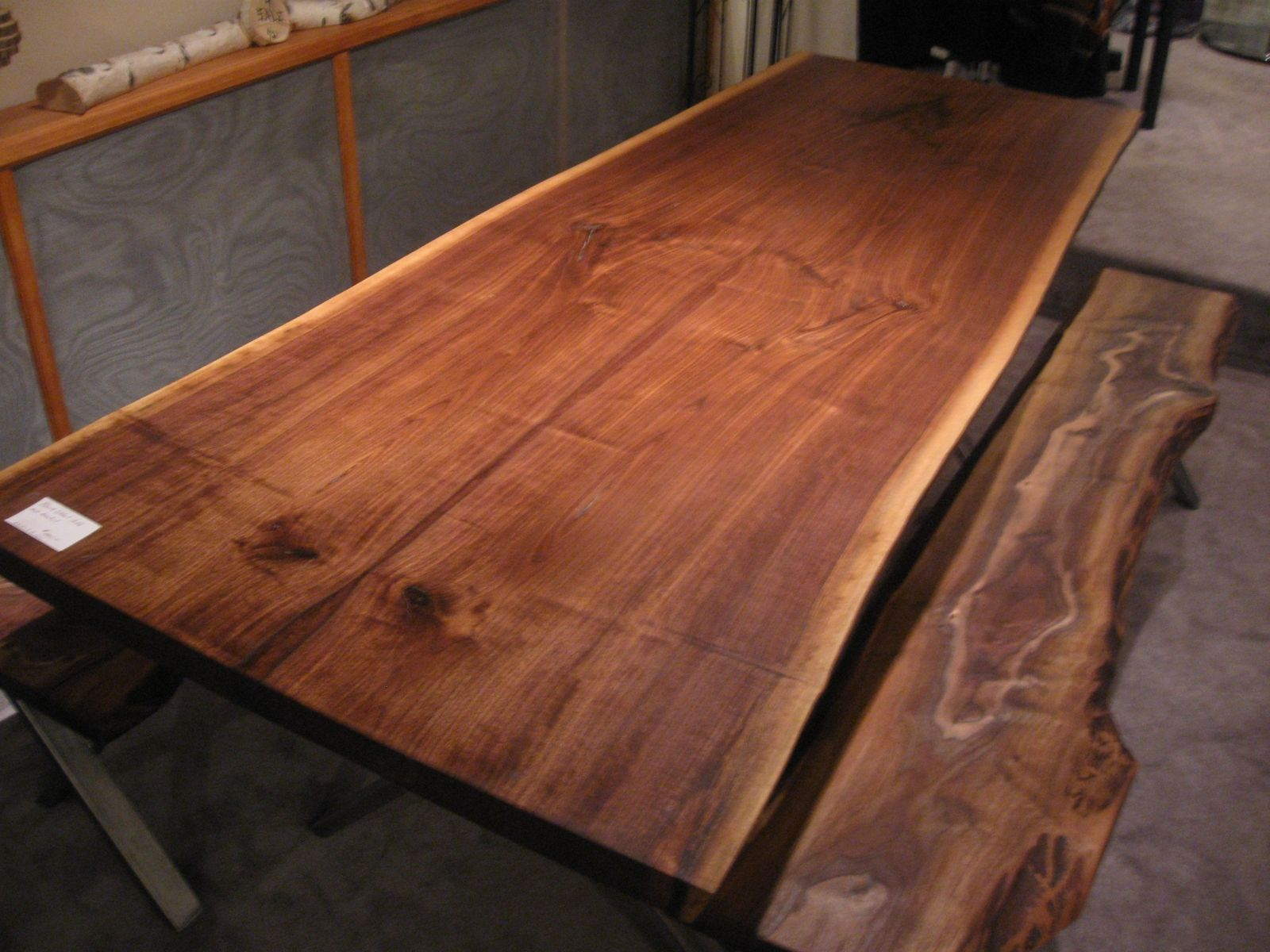Handmade walnut live edge slab x base table by woodrich for Live edge slab lumber