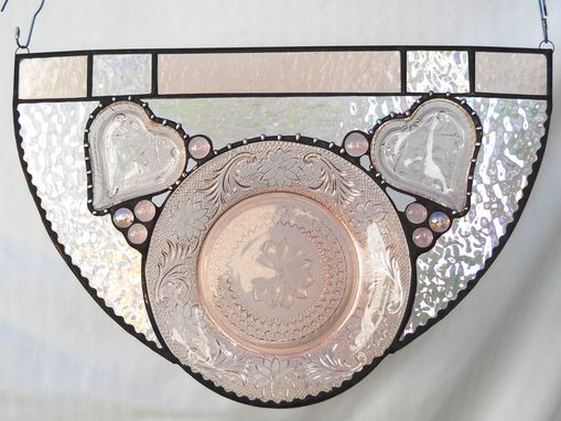 Custom Made Vintage Depression Glass Sandwich Glass Stained Glass Panel Swag Window Treatment