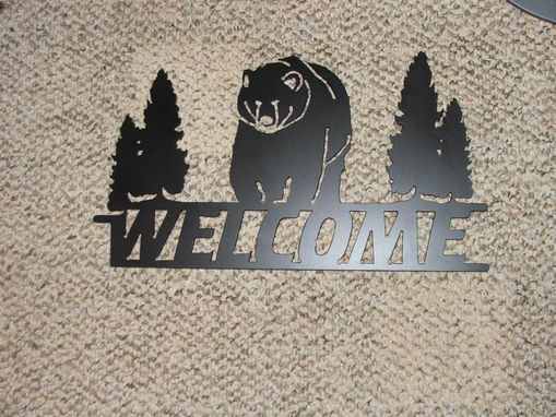 Custom Made Plasma Cut Welcome Sign With Bear Approx 14-1/2