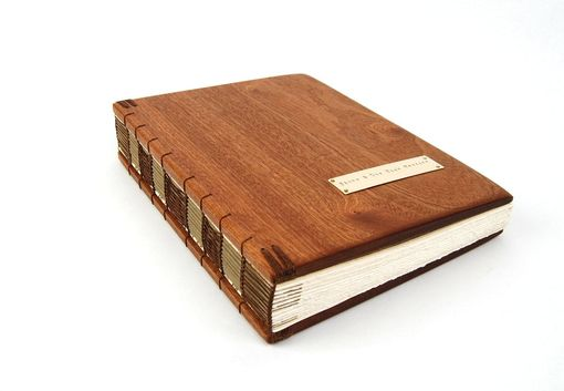 Custom Made Handmade Guest Book - Mahogany Wood Book - Large Rustic Wedding Guestbook Anniversary Book Fall Wedding