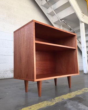 Custom Made Small Mid Century Modern Style Record Cabinet In Mahogany Ply