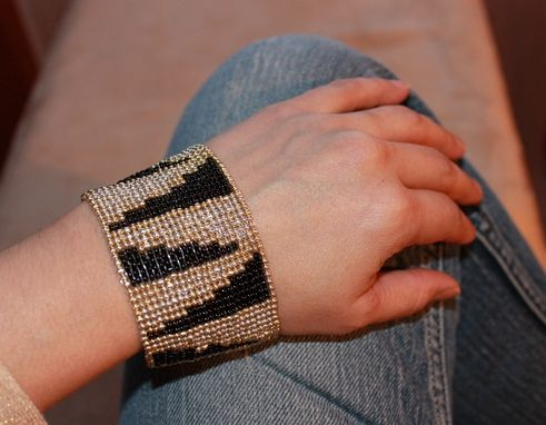 Custom Made Loom Beaded Bracelet Geometric Zebra Design