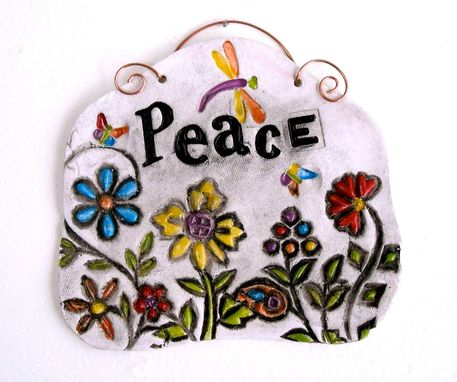 Custom Made Ceramic Pottery Peace Word Wall Hanging, Sign, Plaque