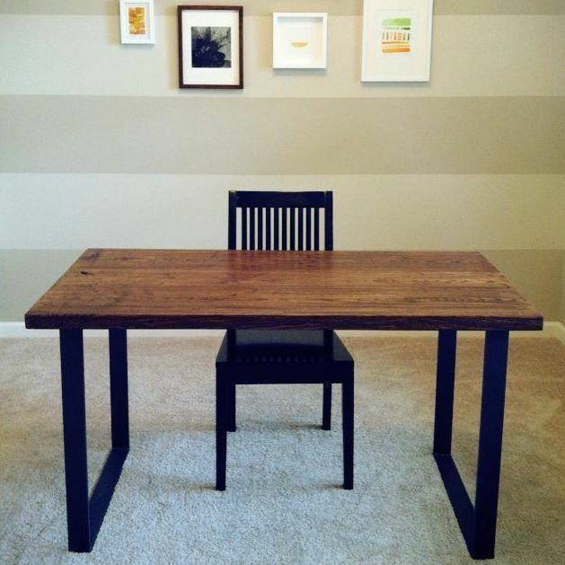 Handmade reclaimed wood desk with metal frame by bord for Metal desk with wood top