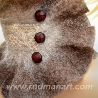 Custom Made Felted Boho Scarf-Collar Eco Brown With 3 Vintage Buttons And Linen Lace