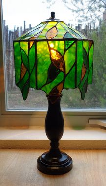 Custom Made Golden And Green Leaves Lamp