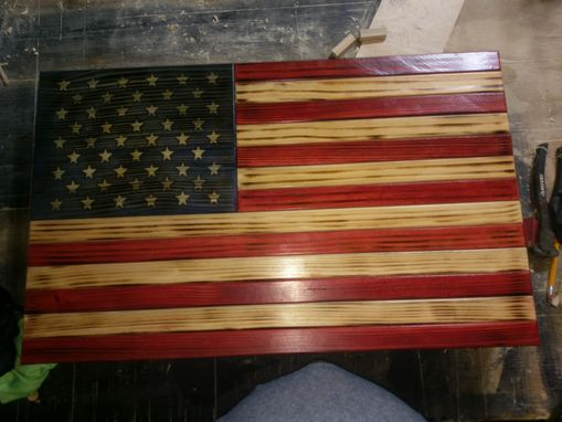 Custom Made All Wood Hand Crafted American Flag Wall Storage Cabinet