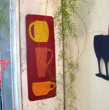 Custom Made Handmade Upcycled Metal Coffee Cafe Wall Decor In Red Orange
