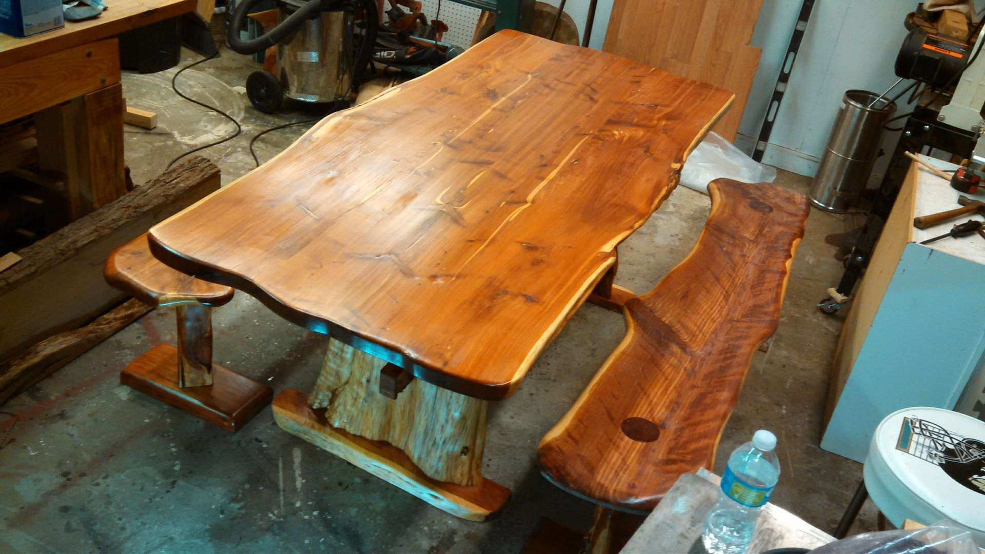 Benches Dining Table: Hand Made Live Edge Cedar Dining Table And Benches By