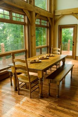 Custom Made Pine Farmhouse Dining Table, Chairs & Matching Benches