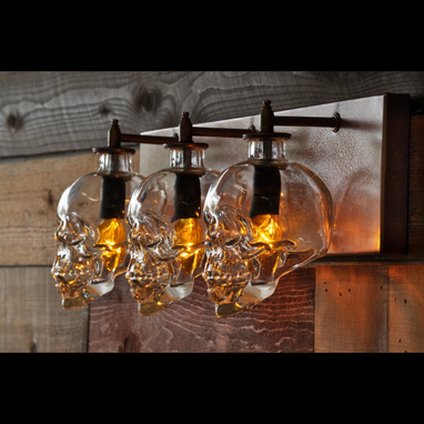 Custom Made Glass Skull Bottle Bathroom Vanity Light With Customizable Finish