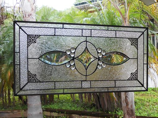 Custom Made Stained Glass Transom Window, Glass Window Valance, Beveled Glass Panel