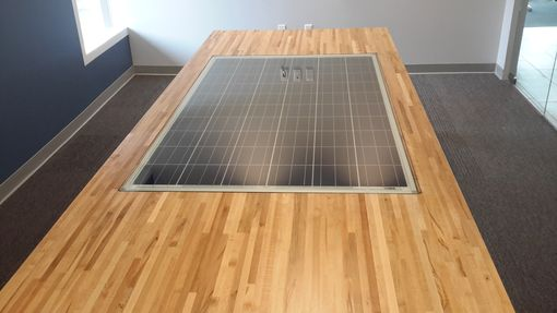 Custom Made Custom Maple Butcher Block Conference Table With Solar Panel Inlay.