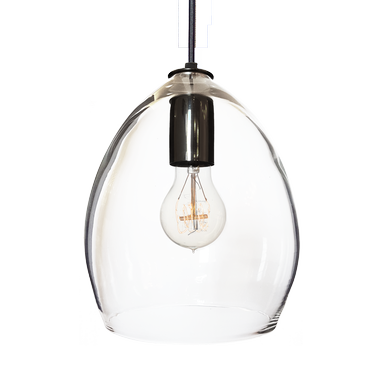 Custom Made Hand Blown Clear Glass Pendant Light- Black
