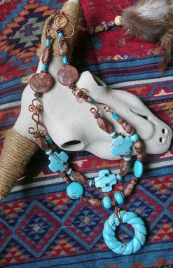 Custom Made Turquoise And Copper Necklace