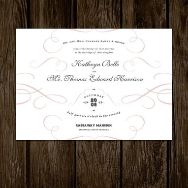 Custom Made Pink Flourish Wedding Invitations