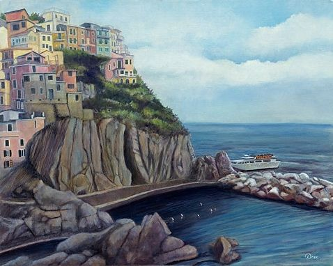 Custom Made Cliffside Colors, Manarola - Oil Painting - Fine Art Print On Canvas, Unstretched (16