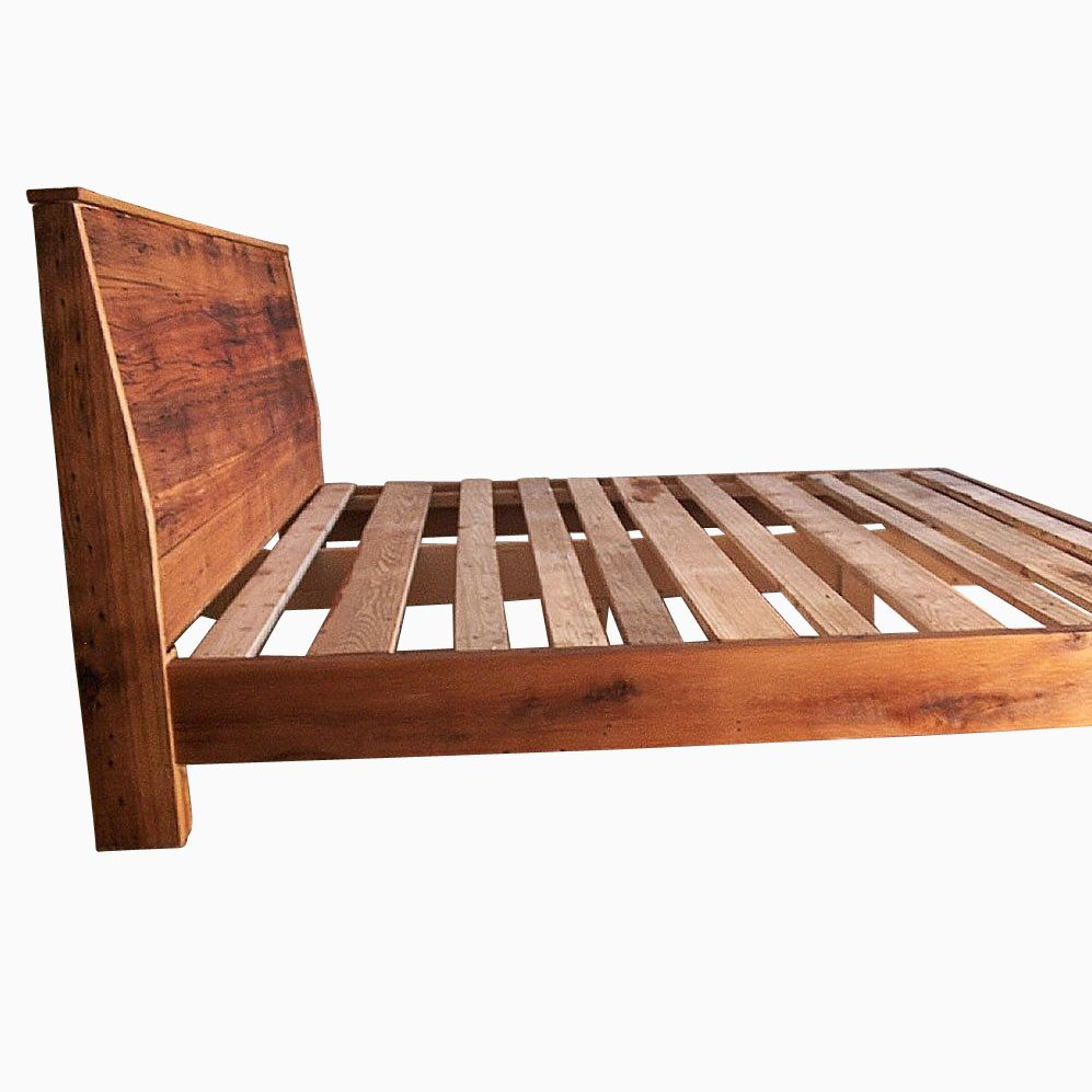Wooden bed furniture design - Custom Made Modern Reclaimed Wood Bed