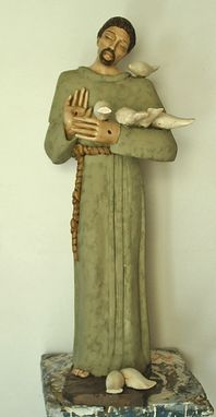 Custom Made St. Francis In Wood With Color