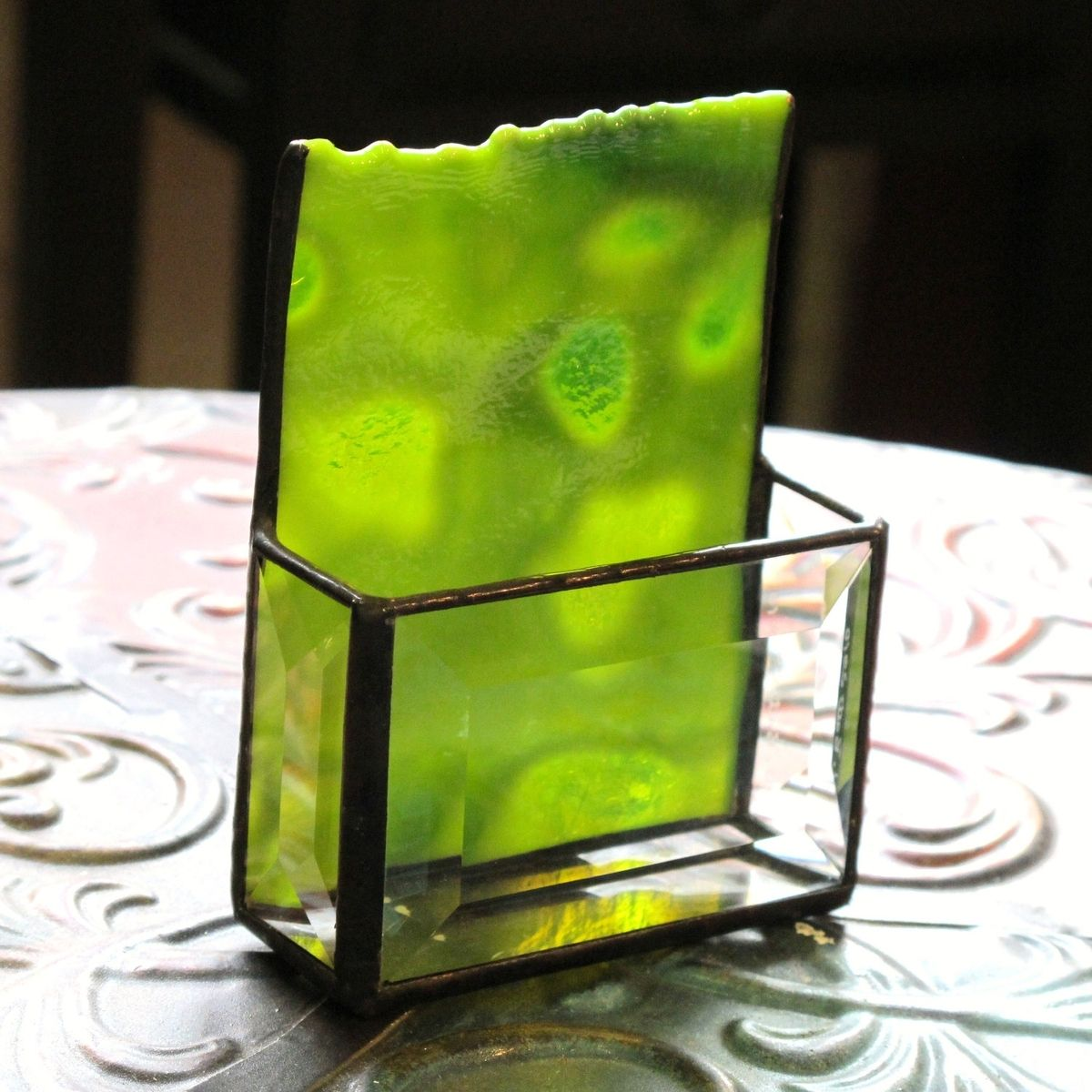 Buy a Hand Made Stained Glass Business Card Holder, 1190, made to ...