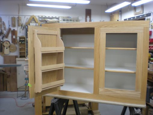 Custom Made Red Oak Kitchen Cabinet With Interior Spice Rack