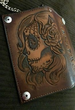 Custom Made Sugar Skull Biker Wallet With Tattoo Font