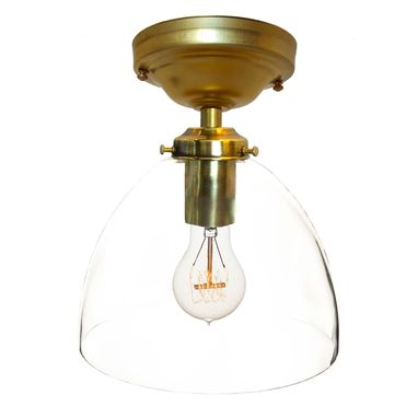 "Custom Made 8"" Clear Hand Blown Glass Flushmount Light- Brass"