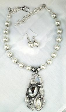 Custom Made Huge Pearl Necklace With Hand Crafted Pearl And Wire Pendant