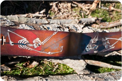 Custom Made Day Of The Dead Leather Guitar Strap