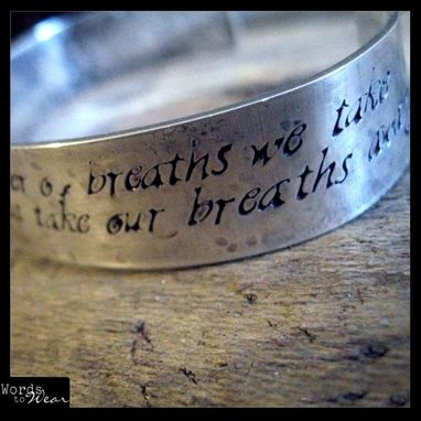 Custom Made Hand Stamped Custom Quote Hammered Sterling Silver Cuff Bracelet