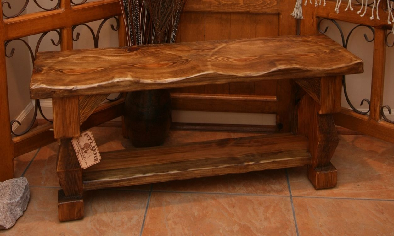 Custom made hand carved rustic style quot butt bench by moss