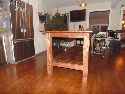 Hand crafted reclaimed wood farmhouse kitchen island by for Custom kitchen island for sale