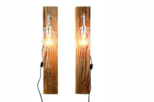 Custom Made 'Mesic' Wall Sconce // Reclaimed Wood Lamp // Industrial Cage Light